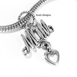 European Mom Heart Charm Bead Pendant